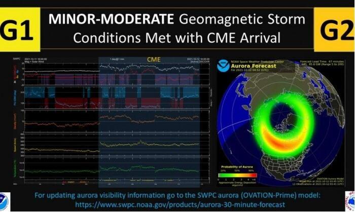 10月9日爆发的太阳风暴产生的物质已经抵达地球